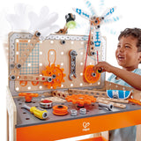 Hape Deluxe Scientific Workbench | Wooden Inventor's Experiment Building Set, 79 Piece Workshop for Kids