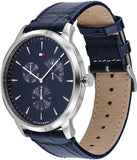 Tommy Hilfiger Men's Stainless Steel Quartz Watch with Leather Crocodile Strap, Blue, 22 (Model: 1710387)