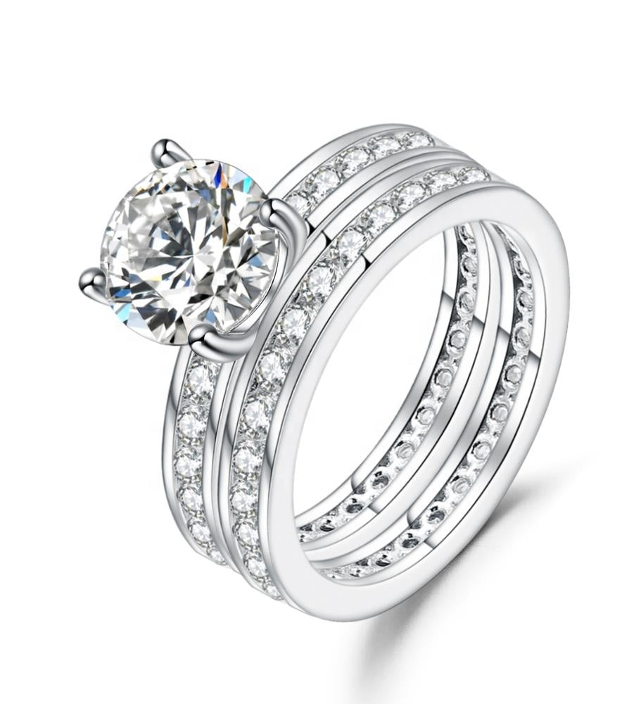 Moonglage Elegance Engagement 2ct Silver Ring