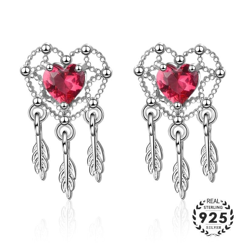 Moonglade Dream Catcher Ruby Dangle Sterling Silver Earrings