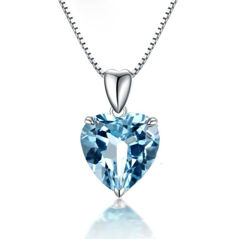 Moonglade Classic Aquamarine Sterling Silver Necklace