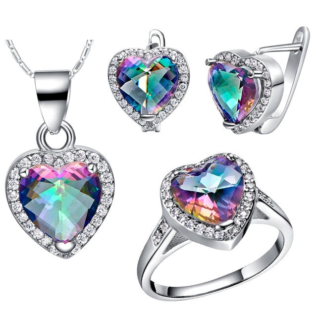Moonglade Rainbow Topaz Heart Set