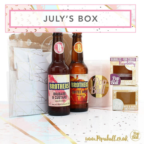 July Subscription box with bubbles for cider, candy floss & place cards