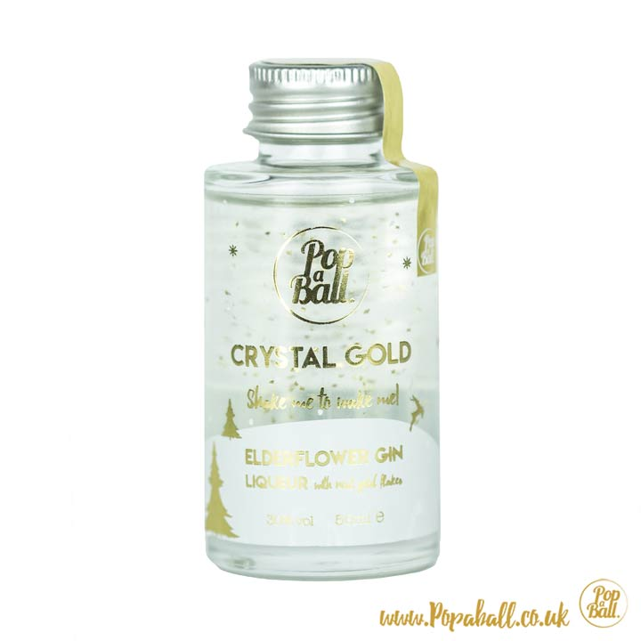 Crystal Gold Elderflower Gin Liqueur with 23ct gold flakes Popaball