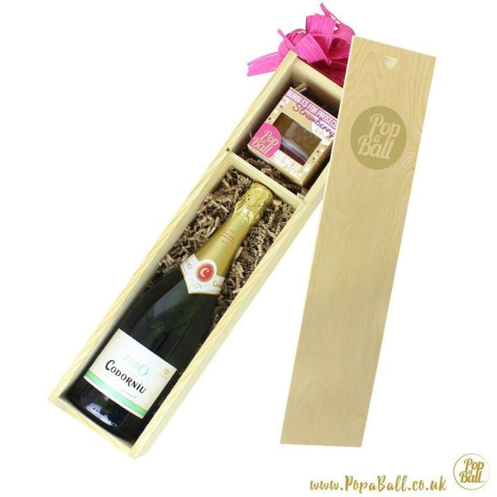Alcohol Free Sparkling Wine With Bubbles For Prosecco Luxury Wooden Gift Box - Fizz