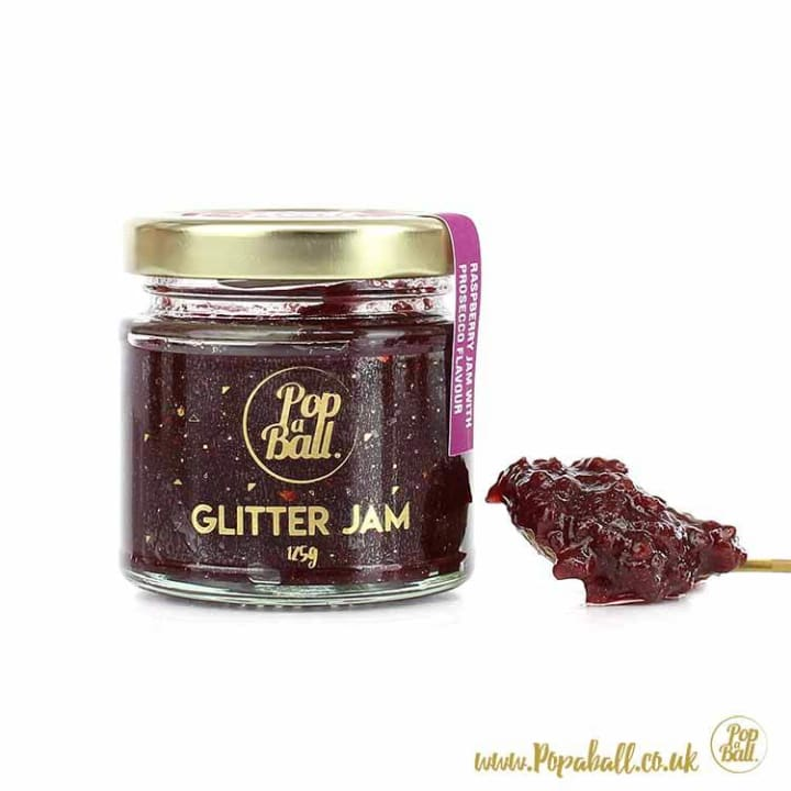 New! Raspberry Glitter Jam With Prosecco Flavour - Bursting Bubbles