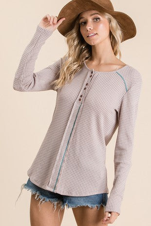 Waffle knit fabric casual top