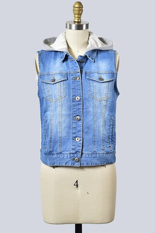 SLEEVELESS DENIM VEST WITH HOODIE DETAIL
