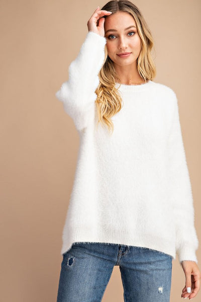 A fuzzy faux fur sweater open back crew neck, dropped long sleeves, and a relaxed fit