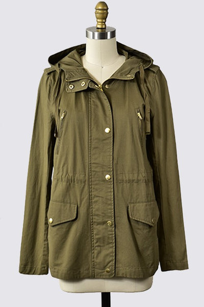 LONG SLEEVE HOODED UTILITY JACKET