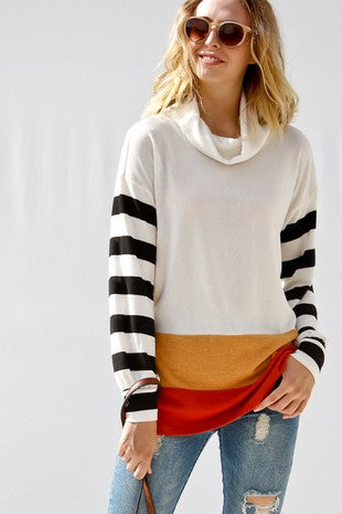 Long sleeve color block mock neck with striped sleeves