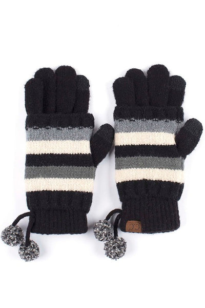 C.C Solid knit glove with multi color striped overlay and pom pom