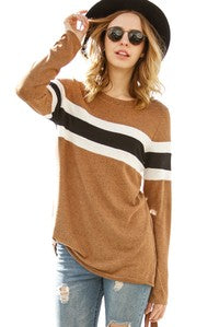 Knit long sleeve top with striped strikethrough