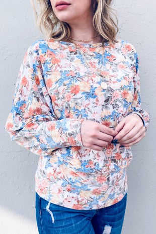Floral Printed Dolman Style Casual Knit Top