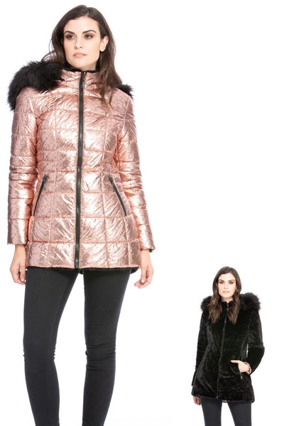 Metallic Pink Reversible to Black puffer coat with faux fur collar