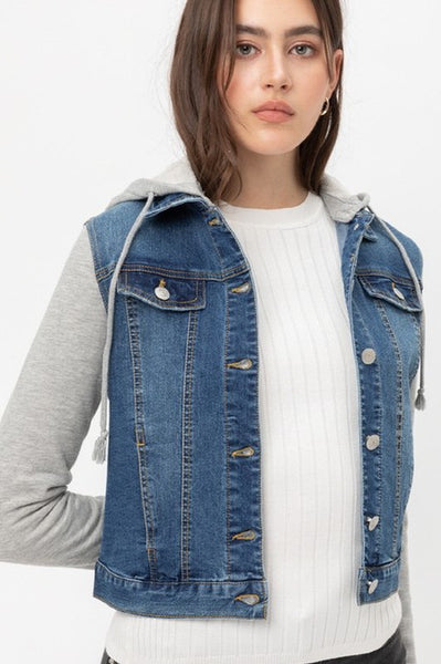 LONG CONTRAST SLEEVE DENIM JACKET WITH HOODIE