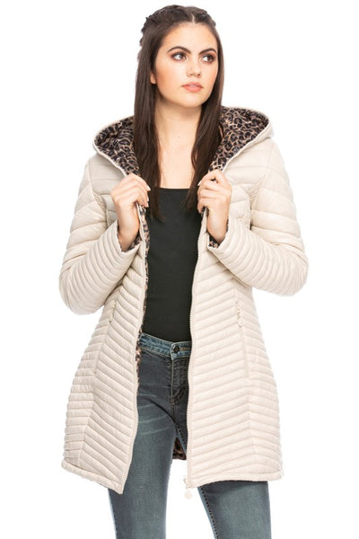 Reversible cream and leopard quilted coat