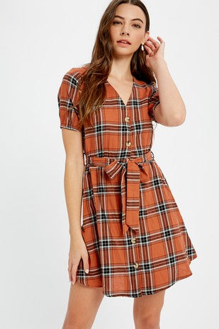 Plaid V-neck button down dress
