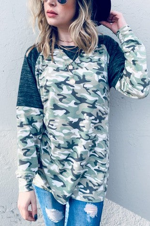 Camo Printed Casual Top