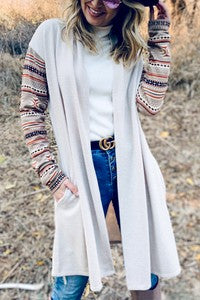 Multi Printed Sleeve Long Cardigan