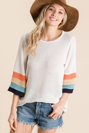 Color block sleeve detail solid knit top