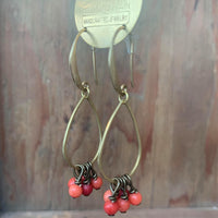 teardrop earrings with red/pink coral bundle