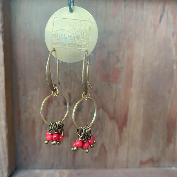 circle earrings with red coral beads