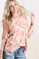 Paisley Print Color Block Top