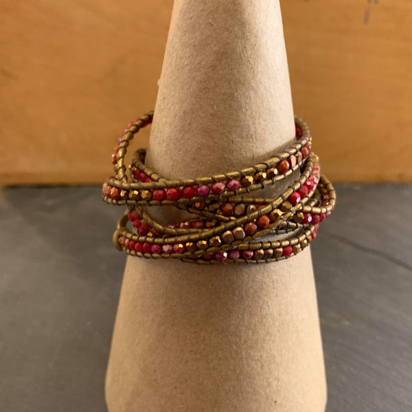 wrap bracelets- tan/cherry combo