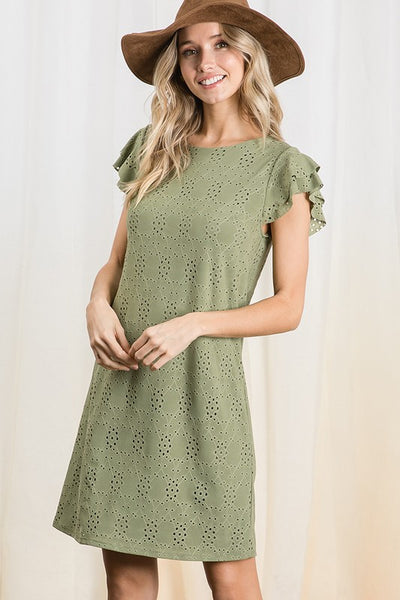 Solid eyelet lace shift dress