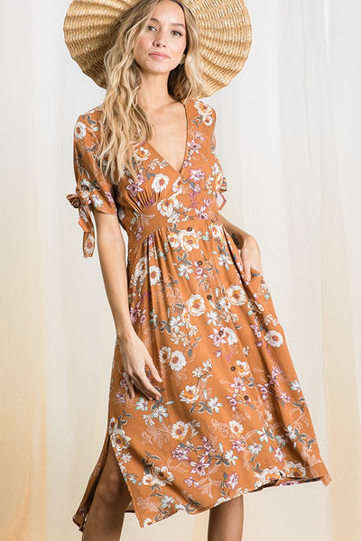 Floral printed woven midi dress