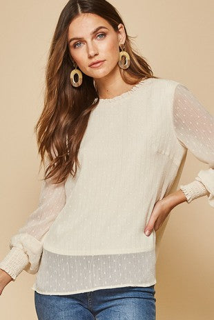 Smocked sheer sleeve top