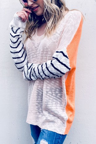 stripe sleeve casual sweater