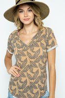 Leaf print knit V-neck top