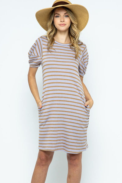 Stripe print knit fabric tunic dress with puff sleeves. lavender/brown