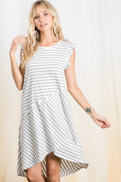 Stripe ruffle sleeve hi-lo midi dress