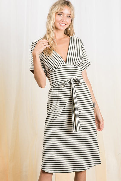 Stripe V plunging neck tied waist dress