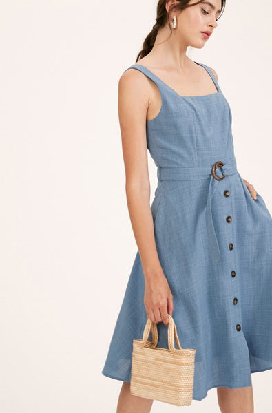 TEXTURED WOVEN SQUARE NECK SLEEVELESS MIDI DRESS