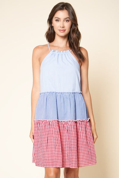 Tiered Gingham Dress
