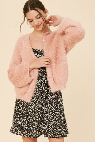 oft fur eyelash button down knit cardigan sweater