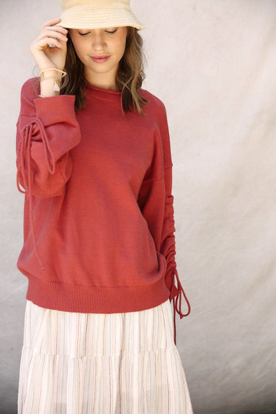 Ruched Sleeve Pullover