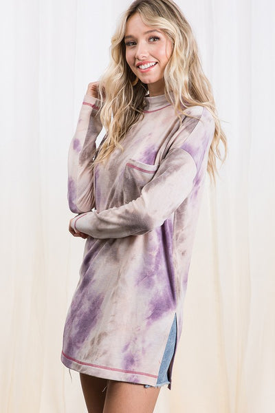 Tie dye turtle neck long slv top