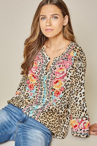 Leopard tunic top with bell sleeves and keyhole on front