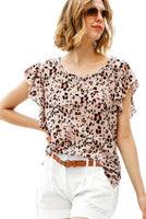 Flutter ruffle sleeve leopard print holey top