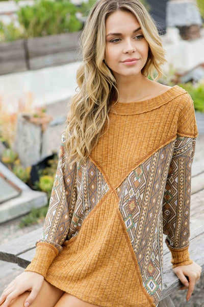 Long Sleeve Color Bock Top