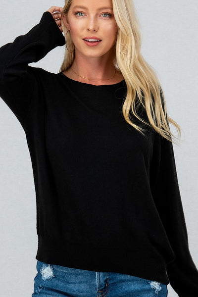 BASIC CREW NECK KNIT TOP