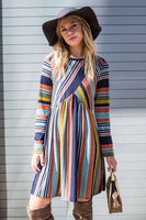 Multi Color Cross Stripe Midi Dress
