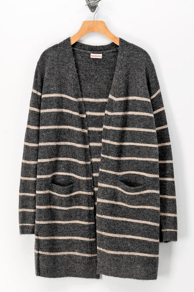 Stripe knit l/ cardigan