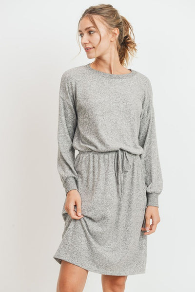Balloon Sleeves Brushed Knit Midi Dress