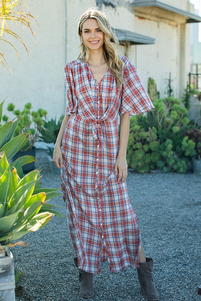 long plaid print midi dress